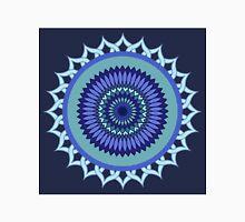 Mandala. Blue round pattern. Unisex T-Shirt