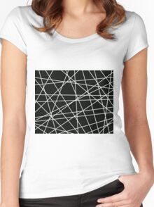 White Lattice Women's Fitted Scoop T-Shirt
