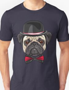 Dog fawn pug in a hat and bow tie Unisex T-Shirt
