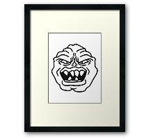 ugly face monster horror halloween grimace eat head Framed Print