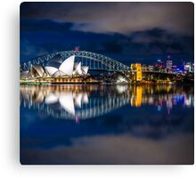 Cloudy Night Sky Reflections Canvas Print