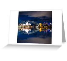 Cloudy Night Sky Reflections Greeting Card
