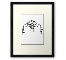ugly face monster horror halloween grimace eat disgusting wall bleeding bite to eat scratch Framed Print