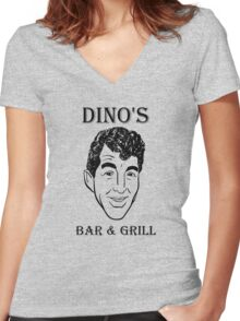 DINO'S BAR & GRILL Women's Fitted V-Neck T-Shirt