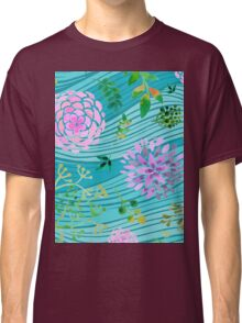 Floral Waves Spring Watercolor Flowers Leaves Classic T-Shirt