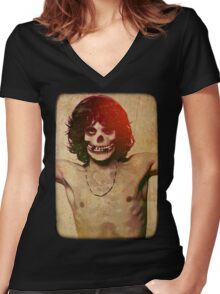 THE MISFITS JIM MORRISON Mash Up (Vintage/black) Women's Fitted V-Neck T-Shirt