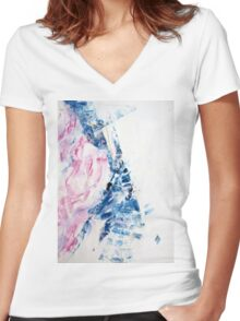 RMS Titanic - Original Wall Modern Abstract Art Painting Original mixed media Women's Fitted V-Neck T-Shirt