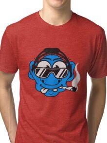 dj cool club joint smoking cannabis bong drug cannabis weed sunglasses headphones disco music dance party troll gnome kiffer face Tri-blend T-Shirt
