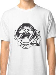 dj cool club joint smoking cannabis bong drug cannabis weed sunglasses headphones disco music dance party troll gnome kiffer face Classic T-Shirt