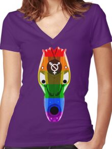 Gay mask design_1 Women's Fitted V-Neck T-Shirt