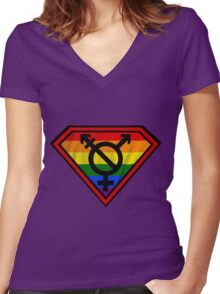 Super Gay Hero _ symbol version Women's Fitted V-Neck T-Shirt