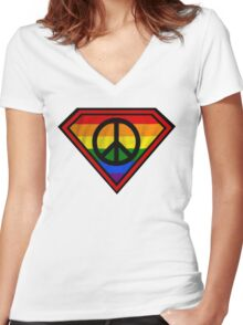 SUPER GAY HERO _peace & love version Women's Fitted V-Neck T-Shirt