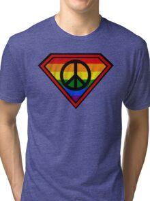 SUPER GAY HERO _peace & love version Tri-blend T-Shirt