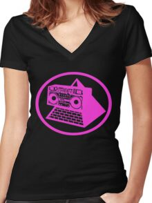 KLF Pyramid Blaster (Neon Pink) Women's Fitted V-Neck T-Shirt