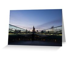 Even the Clouds Aligned with St Paul's Cathedral and the Millennium Bridge in London, UK Greeting Card