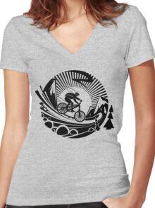Mountain Bike! Women's Fitted V-Neck T-Shirt