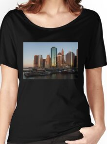 Just Before Sunrise - Manhattan Skyline and South Street Seaport Historic Ships Women's Relaxed Fit T-Shirt