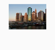 Just Before Sunrise - Manhattan Skyline and South Street Seaport Historic Ships T-Shirt