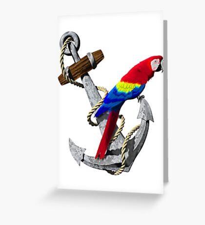 Parrot And Ship Anchor Greeting Card