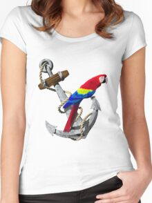 Parrot And Ship Anchor Women's Fitted Scoop T-Shirt