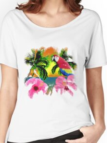 Parrot And Palm Trees Women's Relaxed Fit T-Shirt