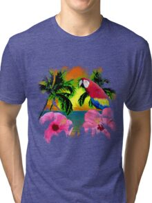 Parrot And Palm Trees Tri-blend T-Shirt