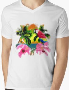 Parrot And Palm Trees Mens V-Neck T-Shirt