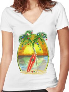 Beach Christmas Women's Fitted V-Neck T-Shirt