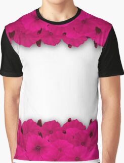 Flower frame. Floral border. Bouquet of pink poppy on white background. Graphic T-Shirt