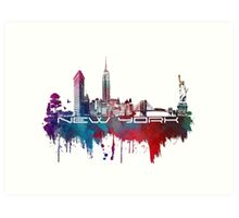 New York skyline blue Art Print