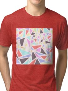 Multi Colored Geometric Triangles White Outline Tri-blend T-Shirt