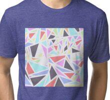Multi Colored Geometric Triangles White Outline Tri-blend T-Shirt