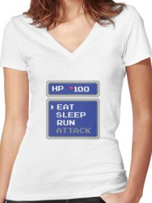 Crystal Story – Lazy RPG Command Menu Women's Fitted V-Neck T-Shirt