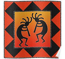 Kokopelli Red Orange Desert Sunset Poster