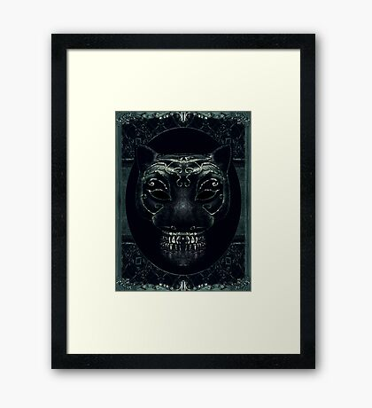 Creepy Mask Portrait with Ornate Borders Framed Print