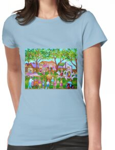 PAINTINGS OF CHILDREN ART FOR BOYS AND GIRLS CHILDHOOD SCENES KIDS AND TOTS PICTURES Womens Fitted T-Shirt