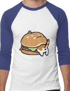 Neko Atsume Cheese Burger Men's Baseball ¾ T-Shirt