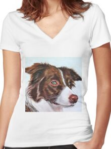 Brown Border Collie Women's Fitted V-Neck T-Shirt