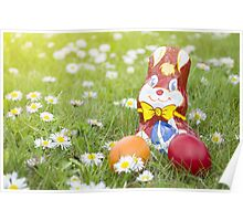 Wrapped Chocolate Bunny with Easter Eggs in the Grass Horizontal Poster