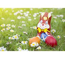 Wrapped Chocolate Bunny with Easter Eggs in the Grass Horizontal Photographic Print