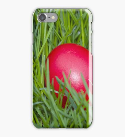 Red Easter Egg in the Grass Closeup iPhone Case/Skin