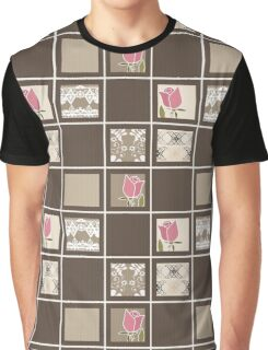 Print fabric textile pattern with elements retro patchwork design background Graphic T-Shirt
