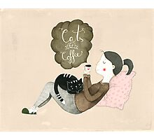 Cats and Coffee Photographic Print