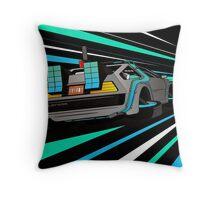 Delorean Time Flux - Blue Throw Pillow