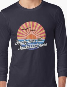 Sandy Toes Sun Kissed Nose Beach Graphic Long Sleeve T-Shirt