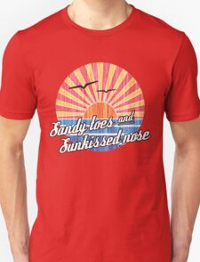 Sandy Toes Sun Kissed Nose Beach Graphic Unisex T-Shirt