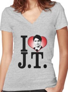 I Love Justin Trudeau Women's Fitted V-Neck T-Shirt