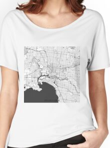 Melbourne City Map Gray Women's Relaxed Fit T-Shirt