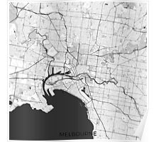 Melbourne City Map Gray Poster