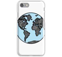 Blue World Map with Mandala Details iPhone Case/Skin